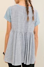 Entro High Low Stripe Tee - Front full body