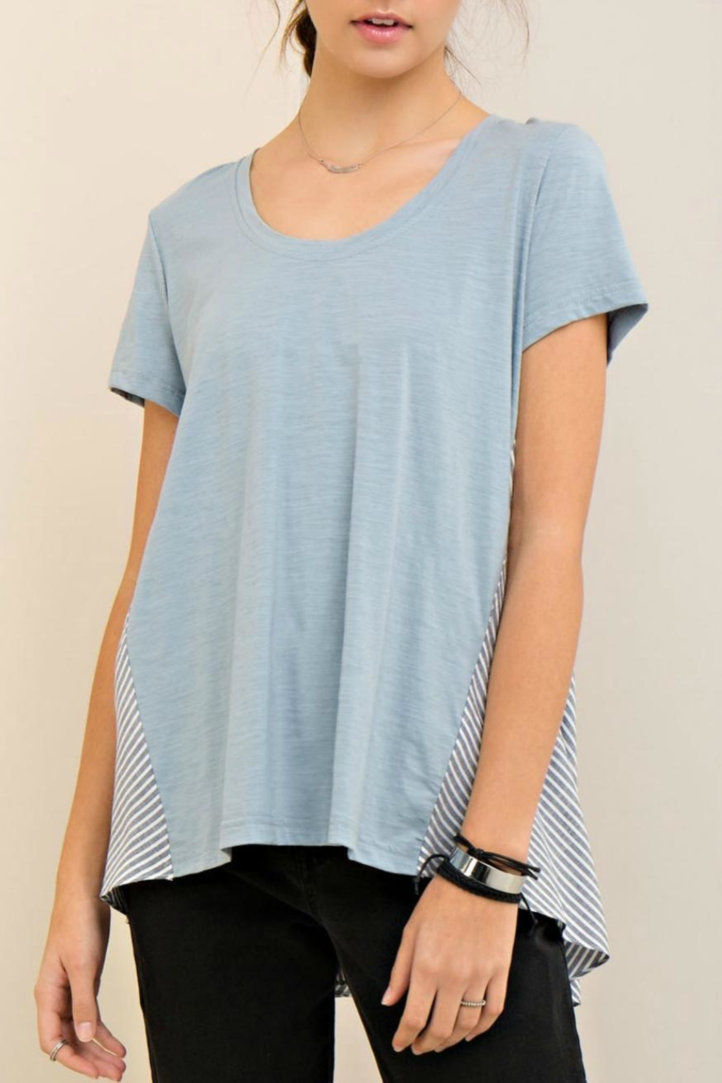 Entro High Low Stripe Tee - Main Image
