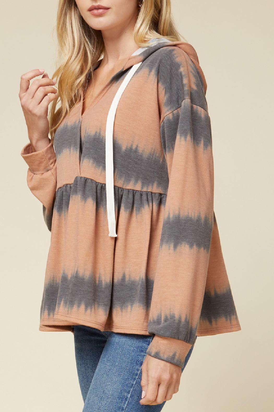 Entro Hooded Peplum Pullover - Side Cropped Image