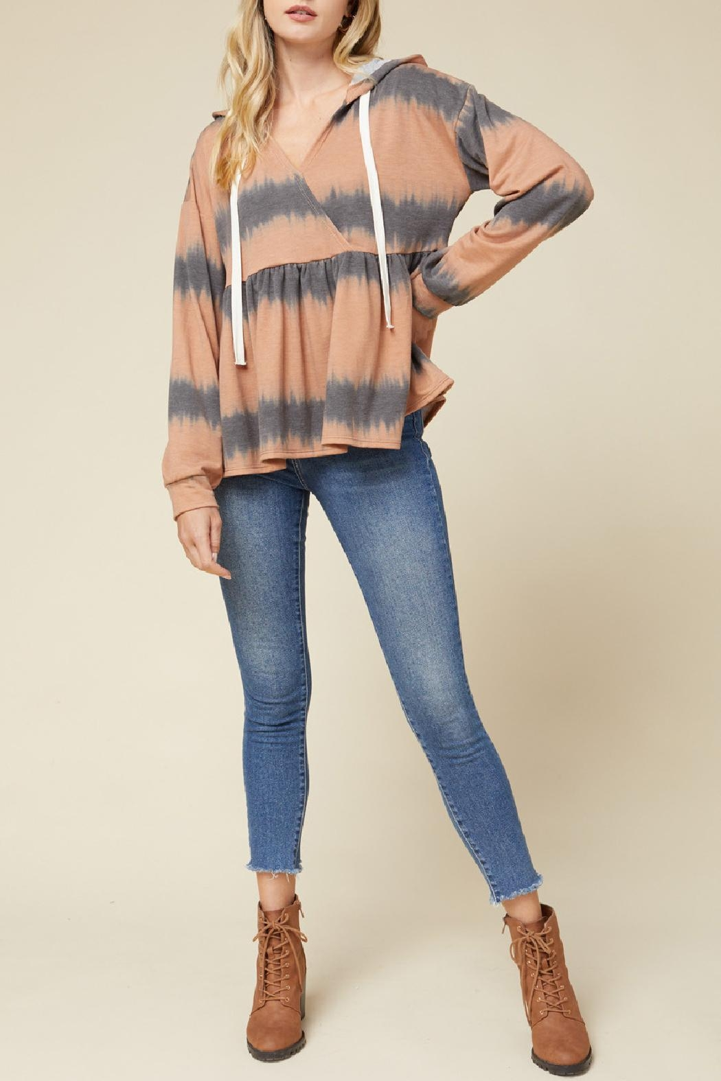 Entro Hooded Peplum Pullover - Main Image