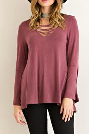Entro Jersey Lace Up Top - Product Mini Image