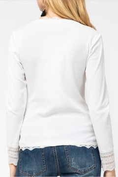 Entro Lace-Accent Ribbed Button-Down - Alternate List Image