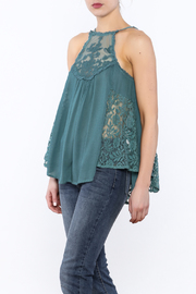 Entro Dusty Blue Lace Top - Product Mini Image