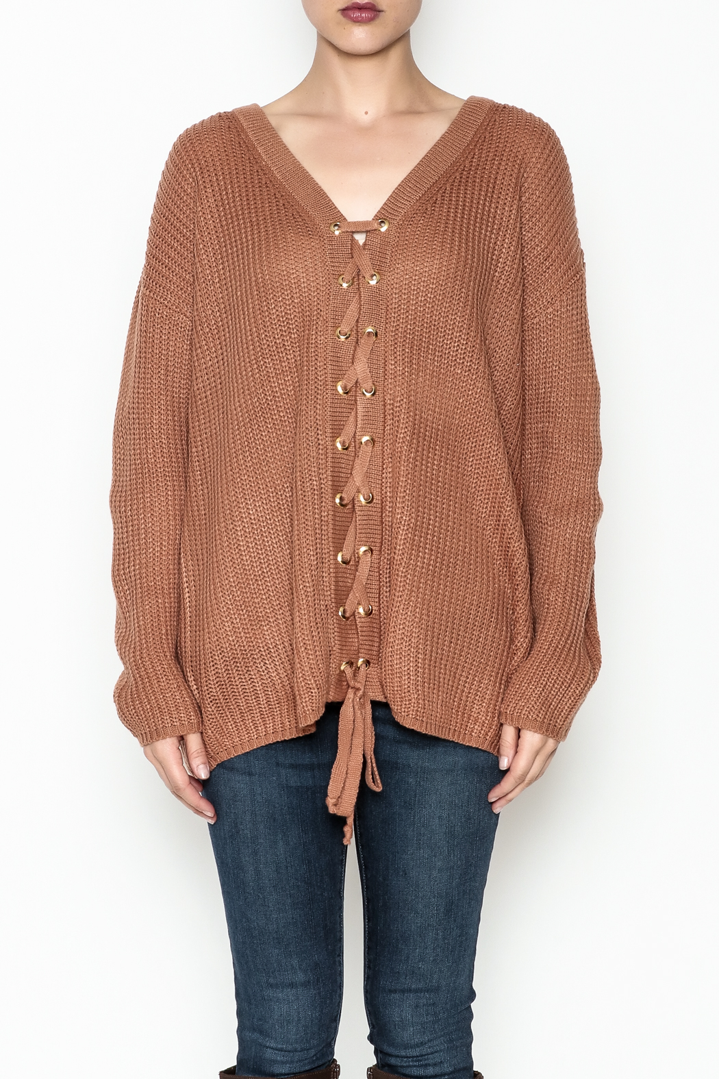 Entro Lace Me Up Sweater - Front Full Image