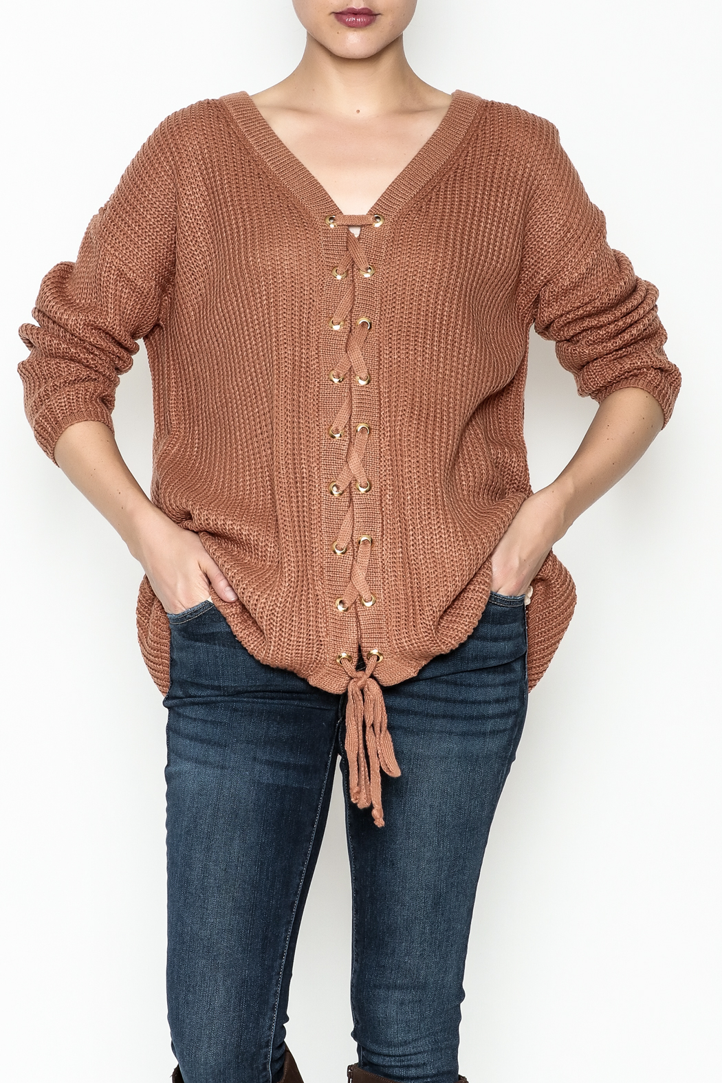 Entro Lace Me Up Sweater - Main Image