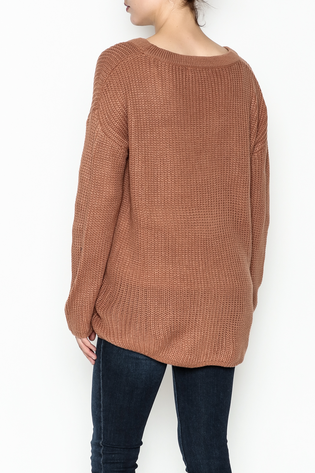 Entro Lace Me Up Sweater - Back Cropped Image