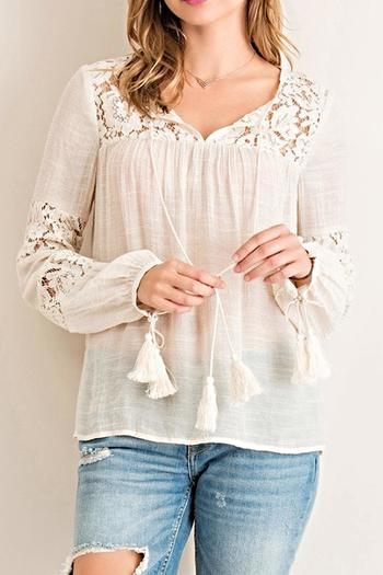 Entro Lace Peasant Top From Ohio By Artifacts Gallery