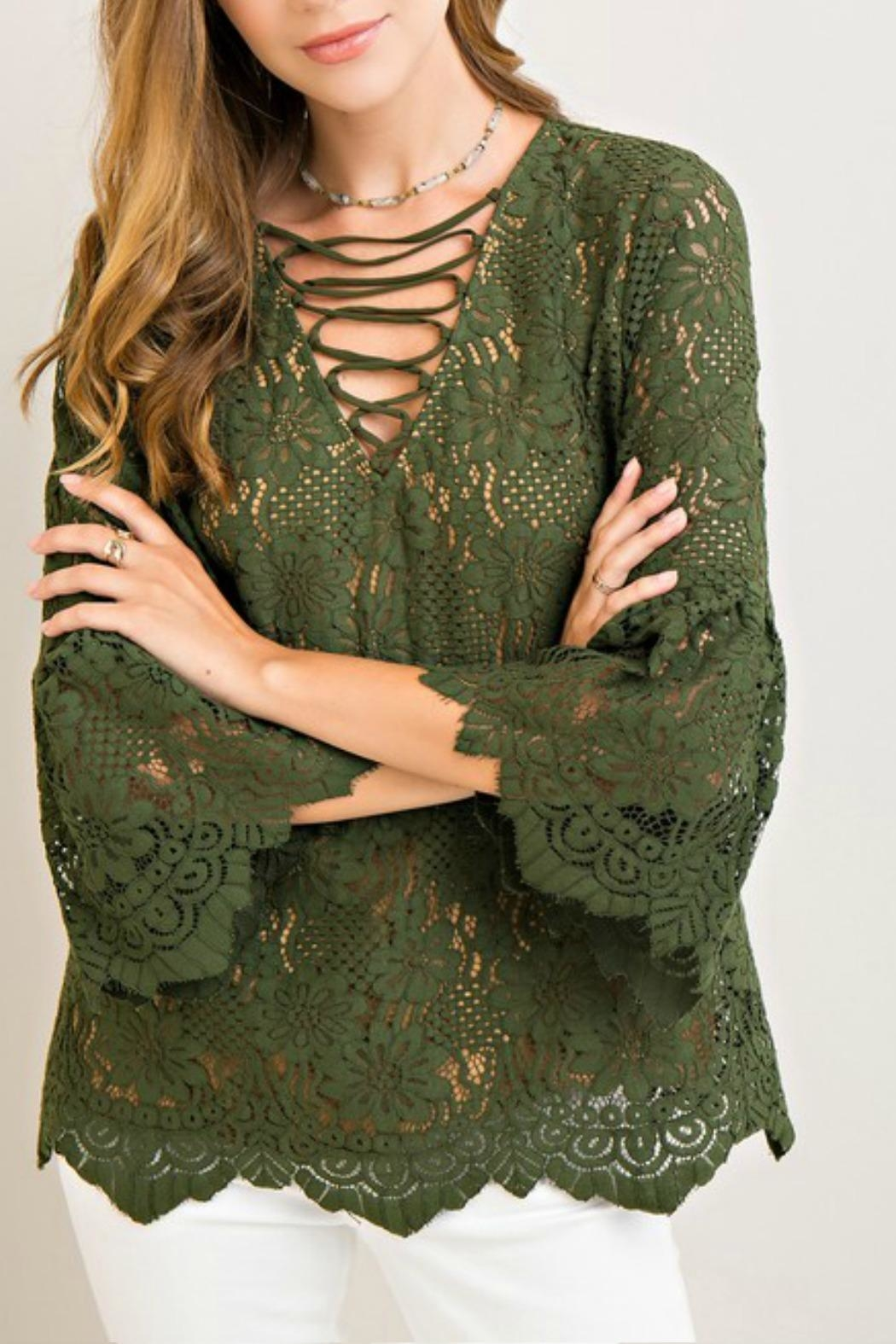 Entro Lace Green Top - Main Image
