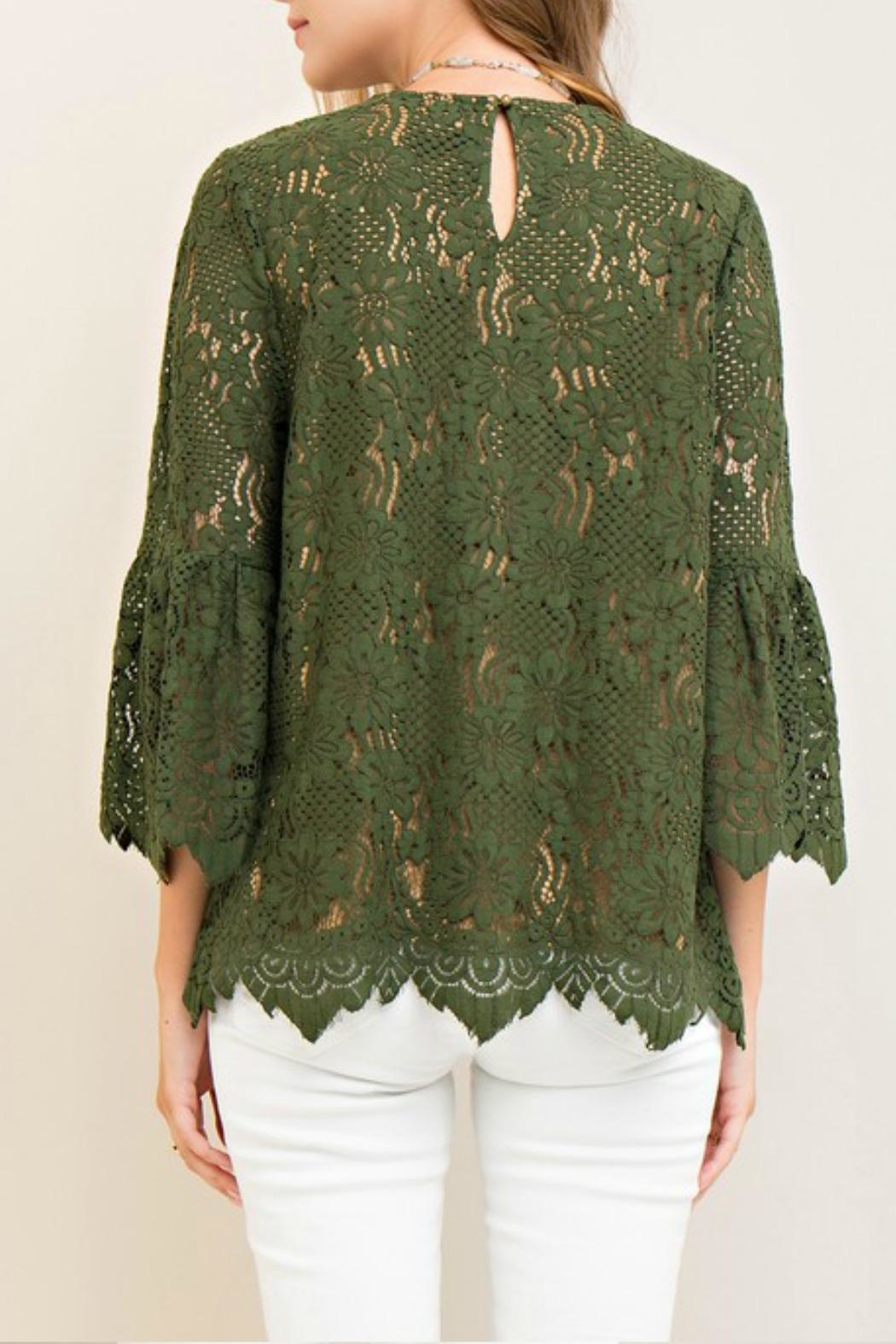 Entro Lace Green Top - Front Full Image