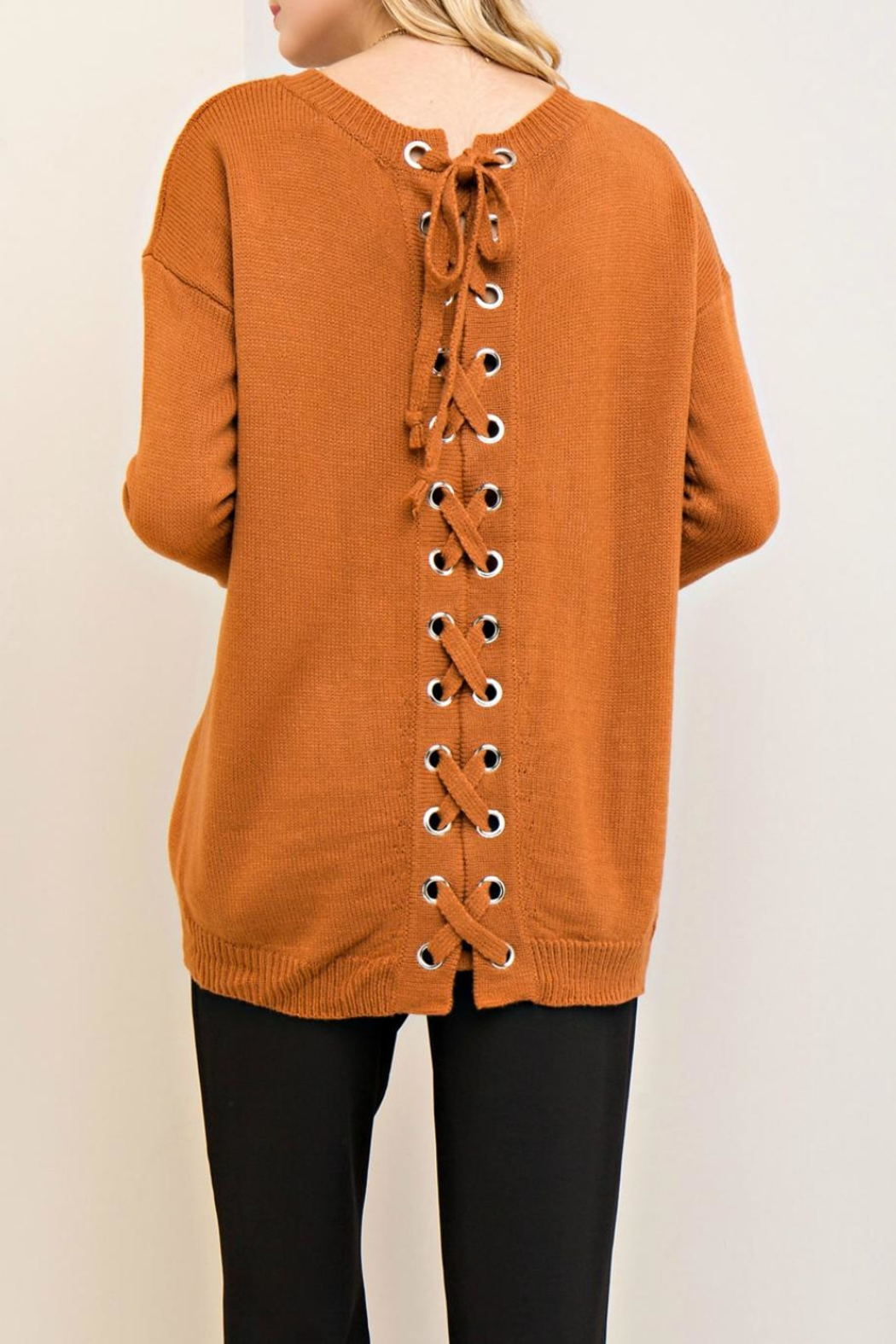 Entro Lace Up Back Sweater - Front Full Image