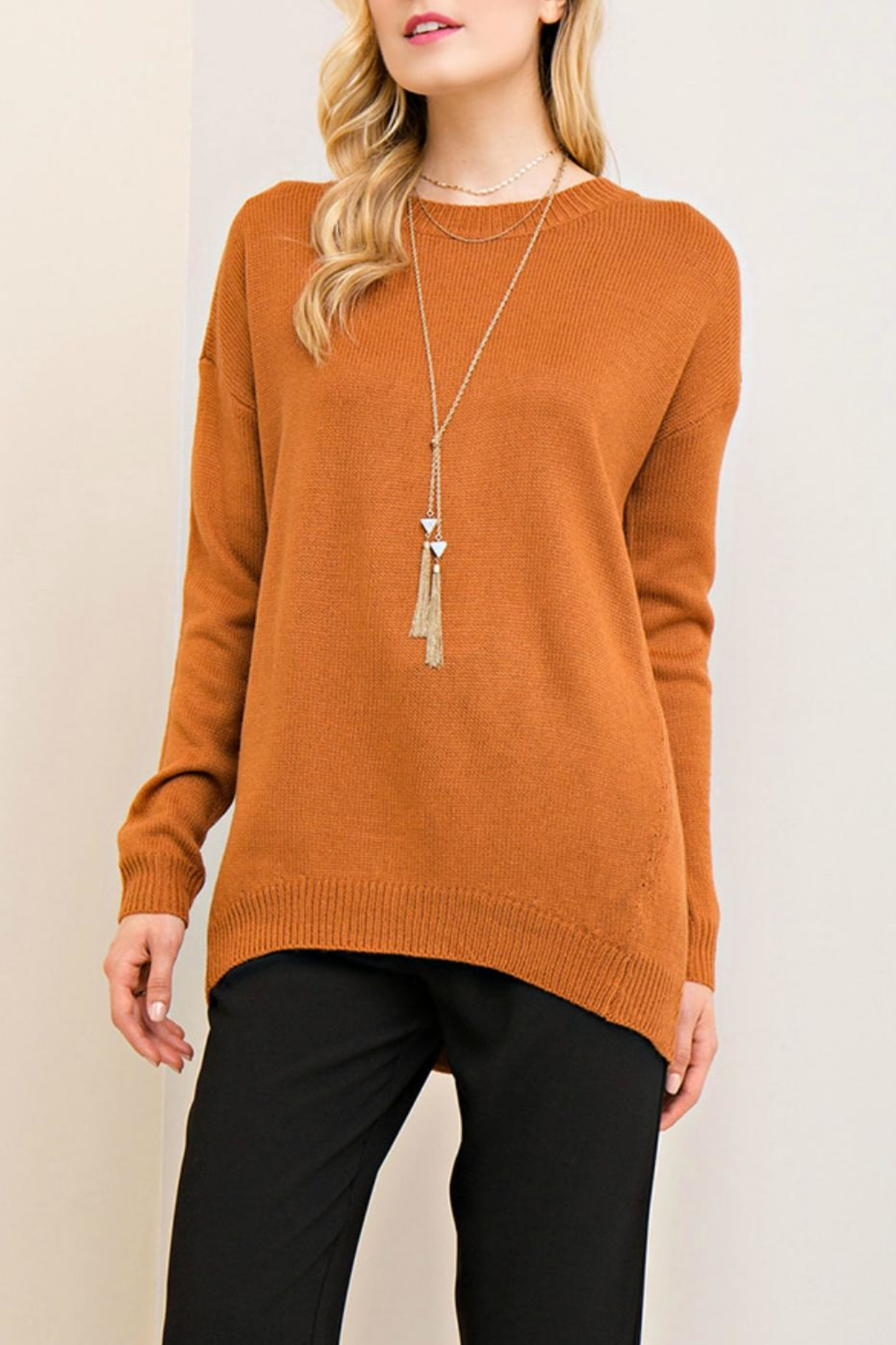 Entro Lace Up Back Sweater - Front Cropped Image