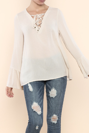 Entro Lace-Up Bell Sleeve Top - Product Mini Image