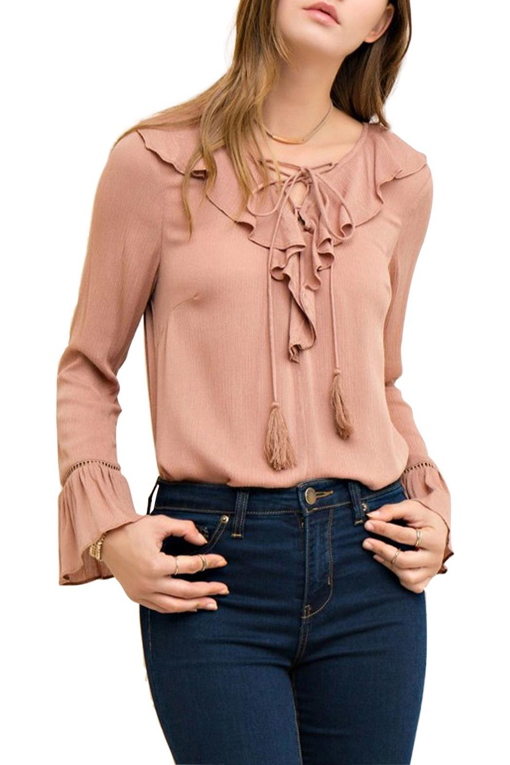 Entro Lace Up Blouse - Front Cropped Image
