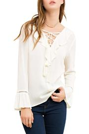 Entro Lace Up Blouse - Front cropped