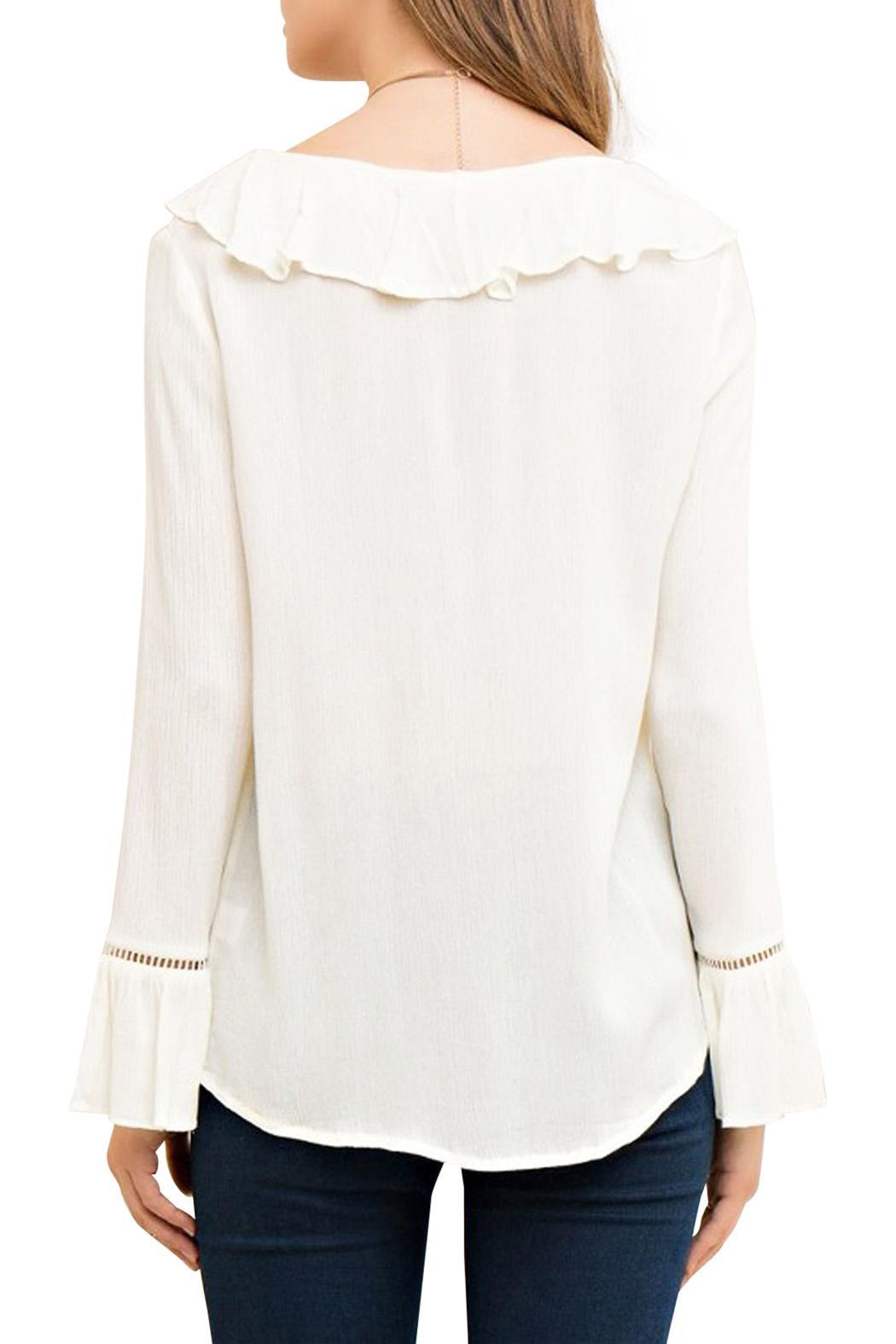 Entro Lace Up Blouse - Front Full Image