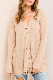 Entro Lace-Up Front Sweater - Product Mini Image