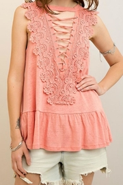 Entro Lace-Up Peplum Top - Front cropped