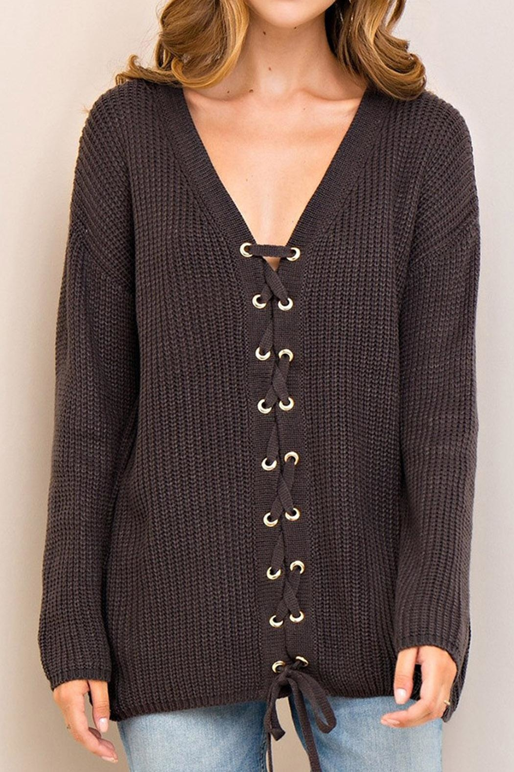 Entro Lace Up Sweater - Main Image