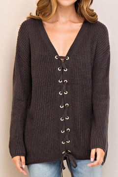 Shoptiques Product: Lace Up Sweater