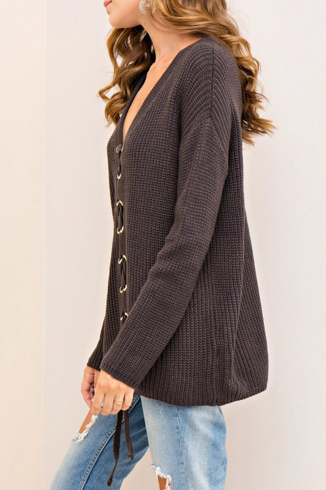 Entro Lace Up Sweater - Side Cropped Image
