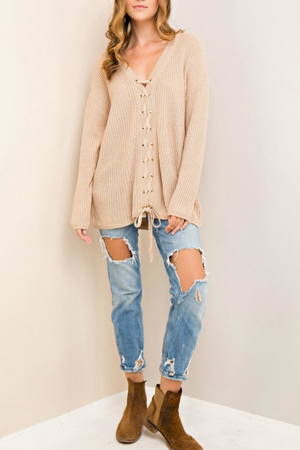 Entro Lace Up Sweater - Front Cropped Image