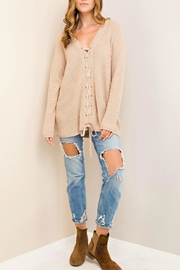 Entro Lace Up Sweater - Front cropped