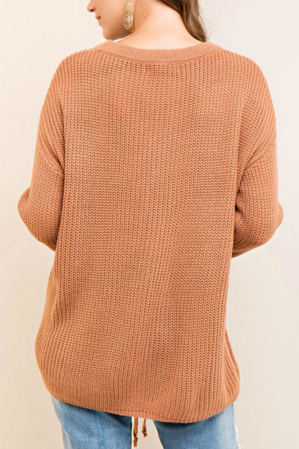 Entro Lace Up Sweater - Front Full Image