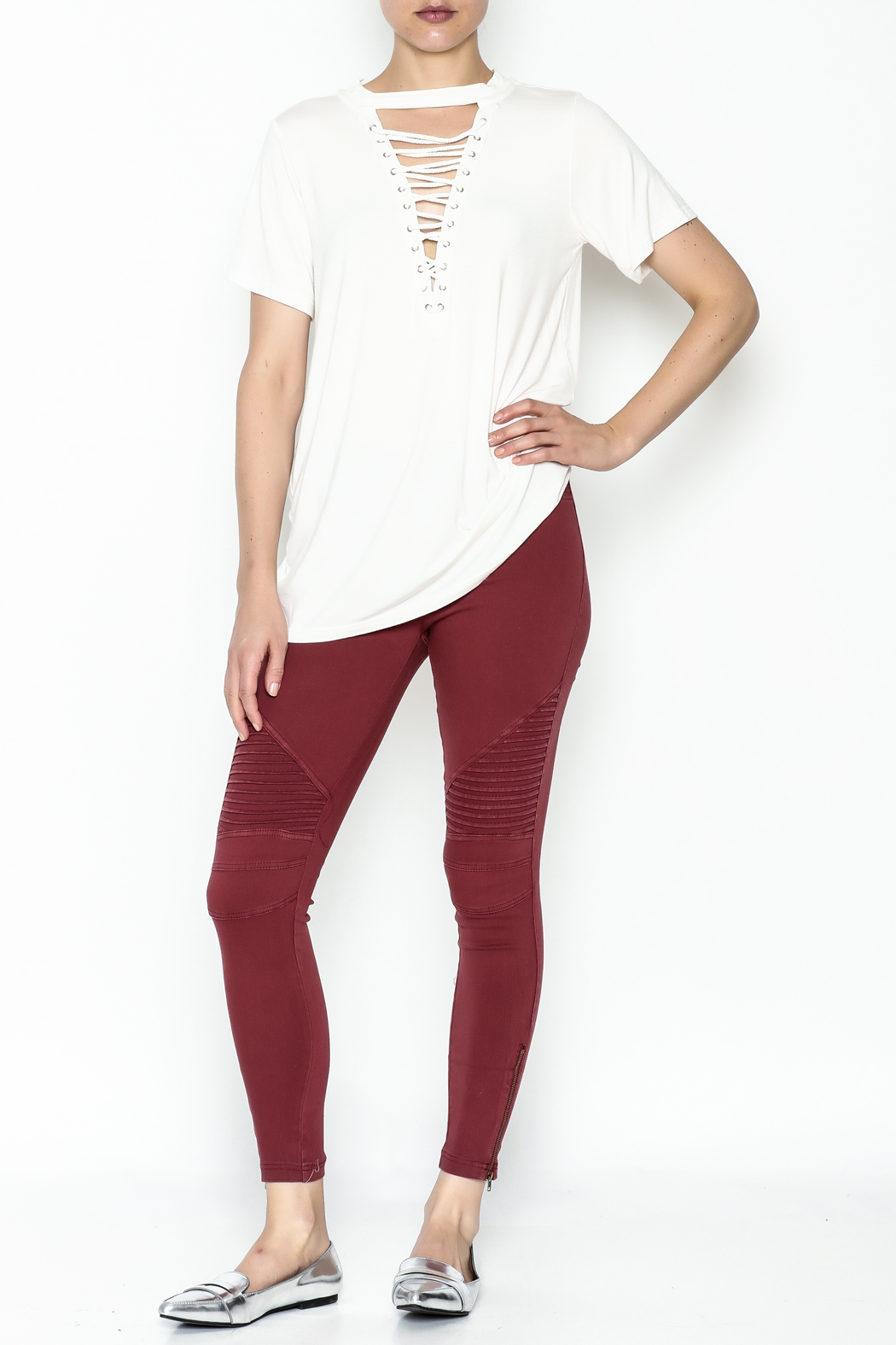 Entro Lace Up Tee - Side Cropped Image