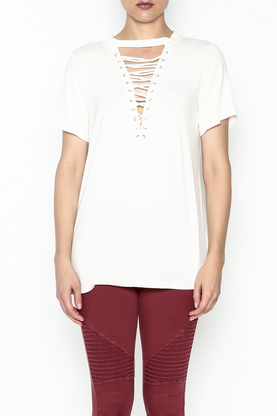Entro Lace Up Tee - Front Full Image