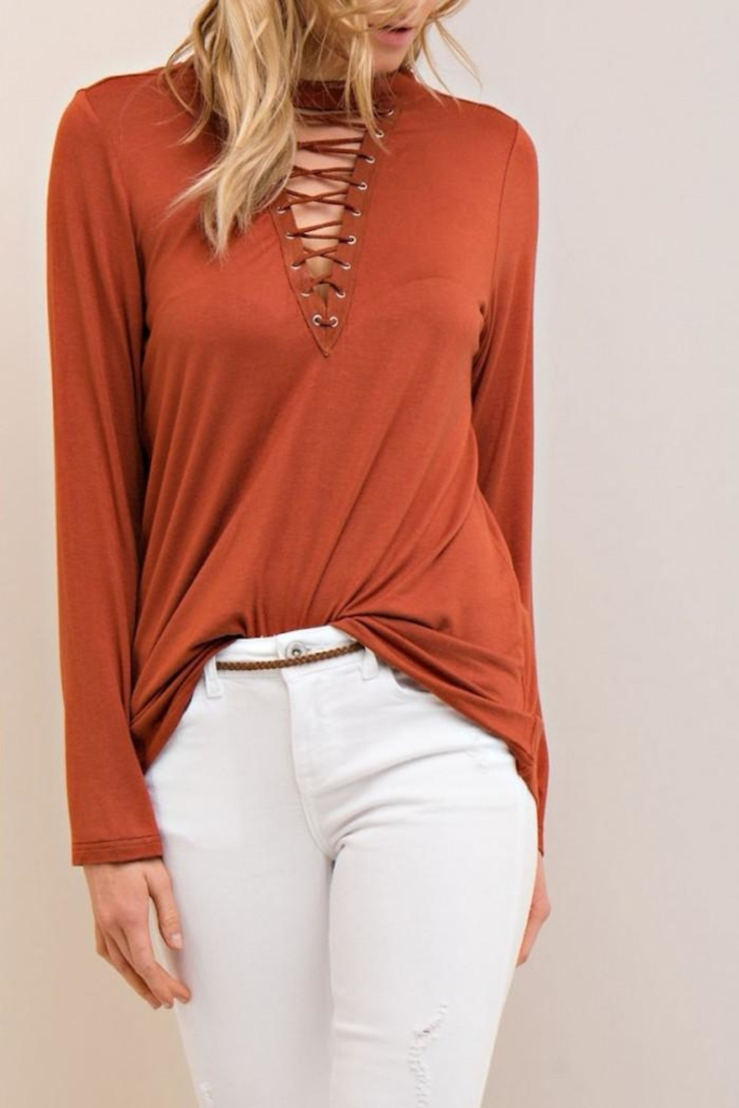 Entro Lace Up Top - Front Full Image