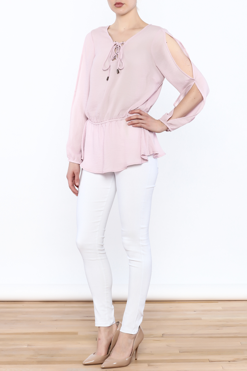Entro Laced Up Blouse - Side Cropped Image