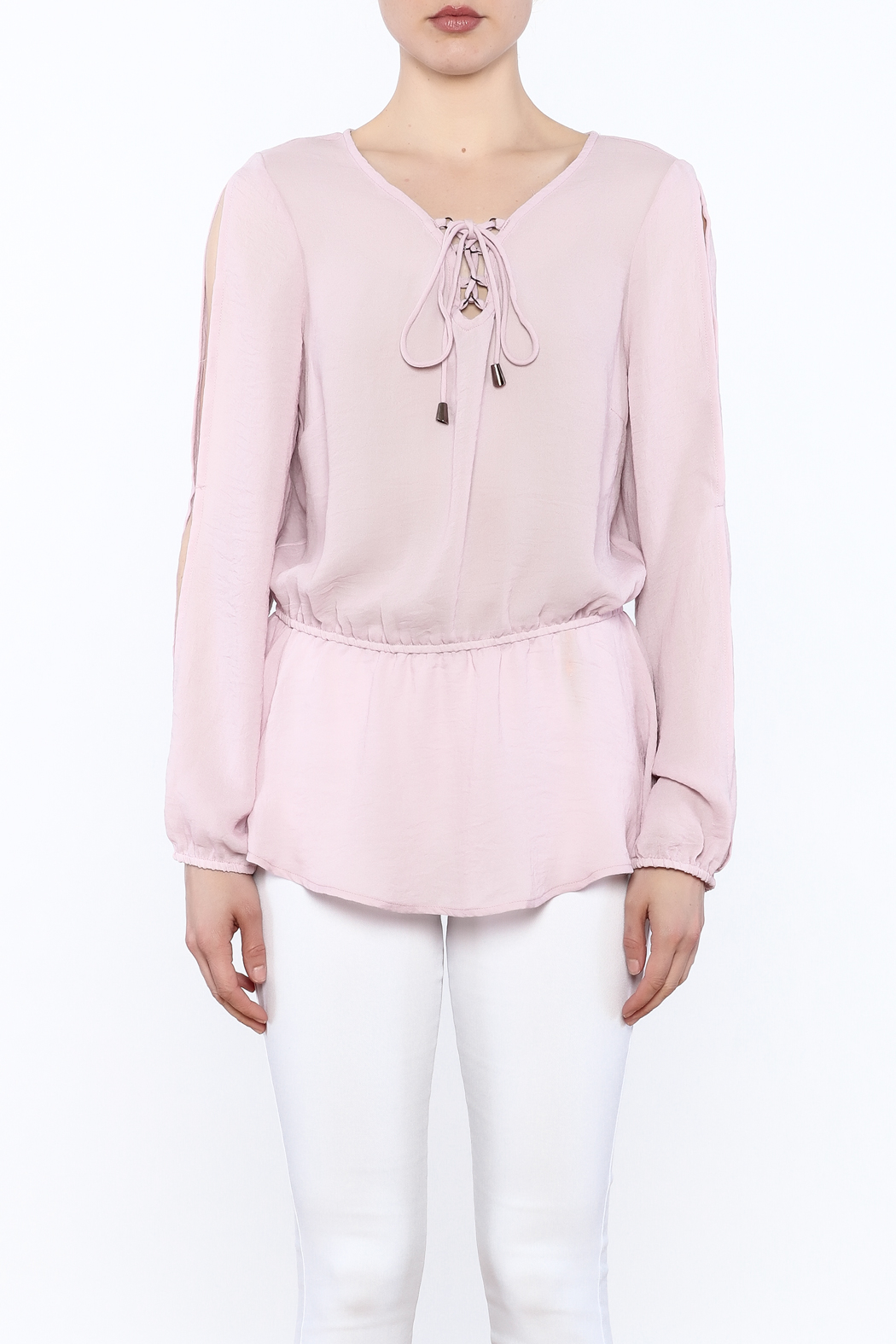 Entro Laced Up Blouse - Front Full Image