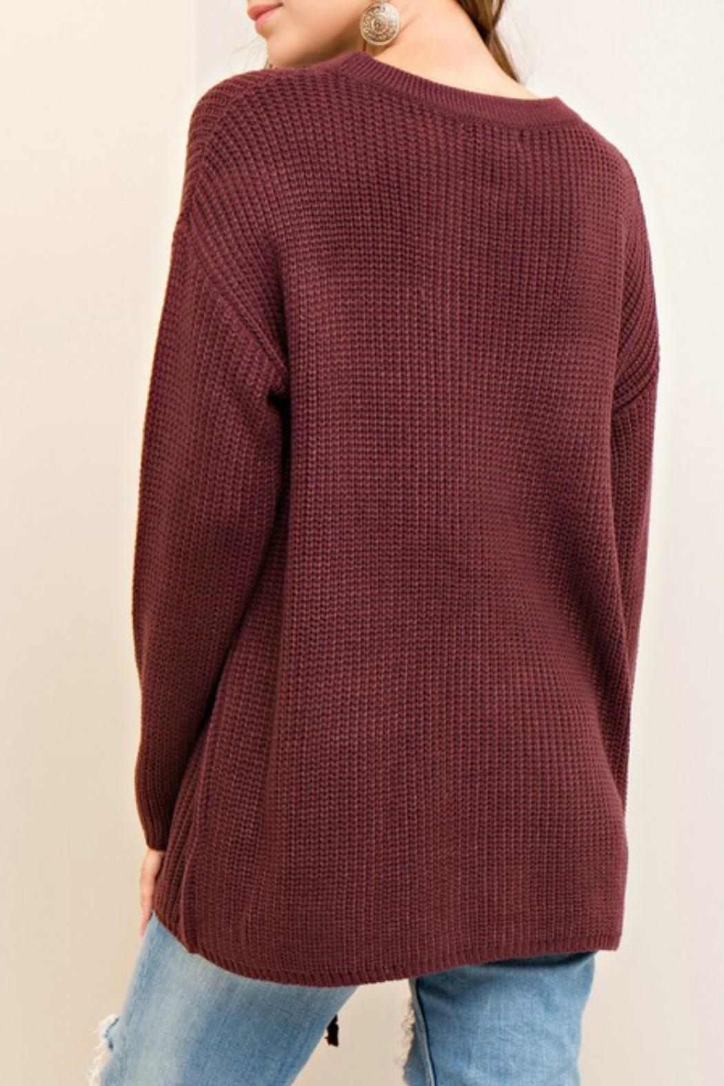 Entro Laced Up Sweater - Side Cropped Image