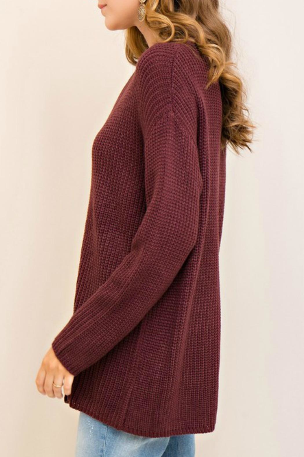 Entro Laced Up Sweater - Back Cropped Image