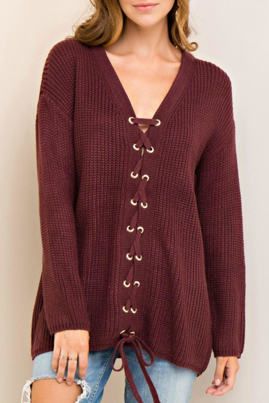 Entro Laced Up Sweater - Front Full Image