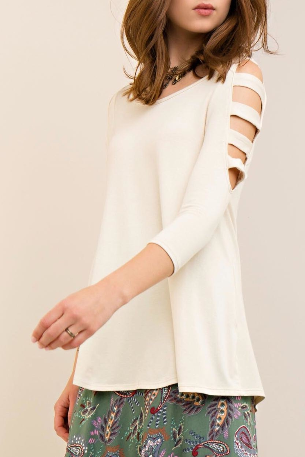Entro Ladder Sleeve Top - Front Cropped Image