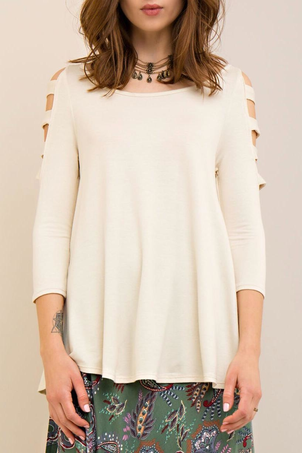 Entro Ladder Sleeve Top - Front Full Image