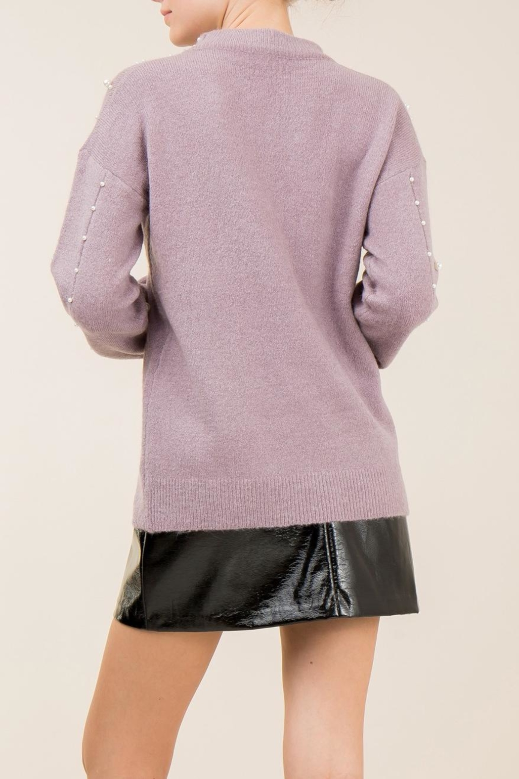 Entro Lavender Pearl Sweater - Side Cropped Image