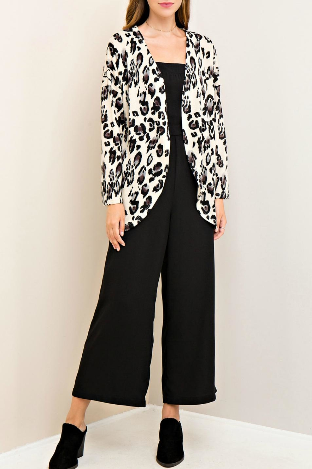 Entro Leopard Print Cardigan - Side Cropped Image