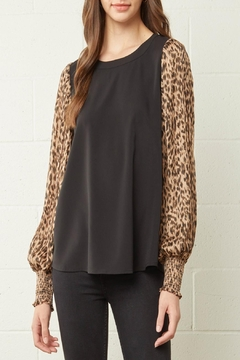 Shoptiques Product: Leopard-Print Pleated-Sleeves Top