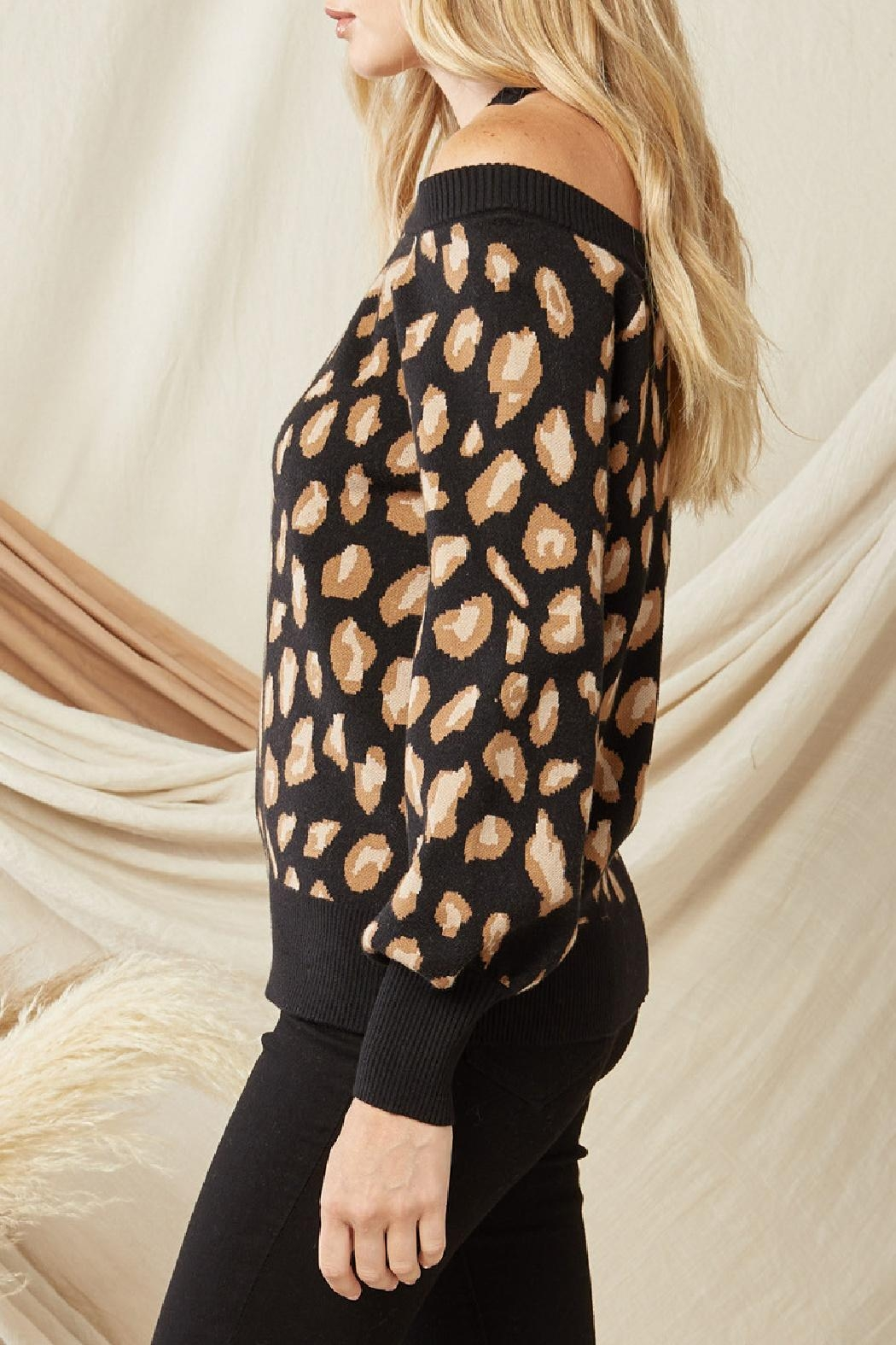 Entro Leopard Print Sweater - Back Cropped Image
