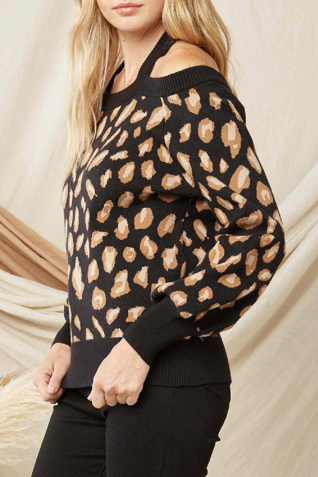 Entro Leopard Print Sweater - Side Cropped Image