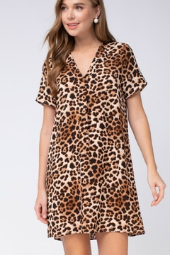 470b3f4e45ba42 Shoptiques Product: Leopard-Print V-Neck Shift-Dress ...