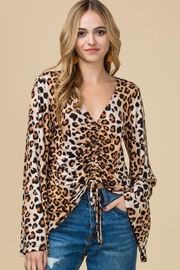 Entro Leopard Print V-Neck Top - Product Mini Image