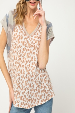 Entro Leopard Waffle-Knit Top - Product List Image