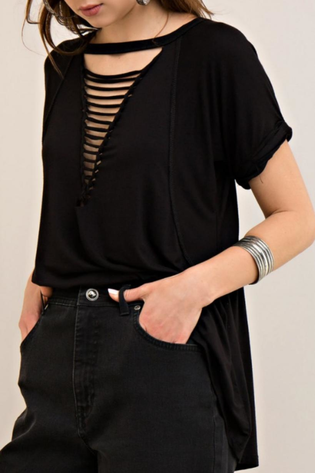 Entro Loop Cut V-Neck Tee - Back Cropped Image