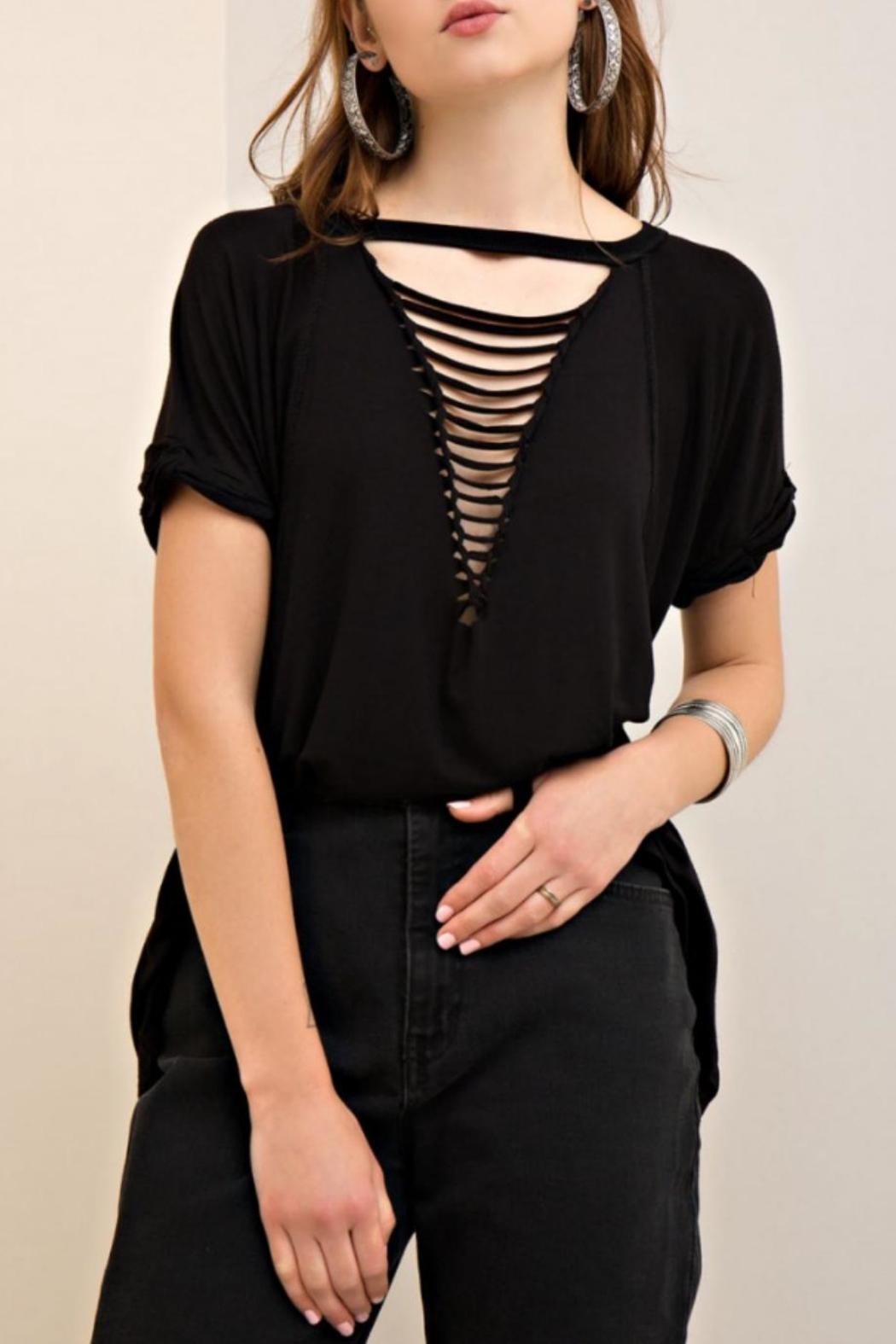 Entro Loop Cut V-Neck Tee - Front Cropped Image