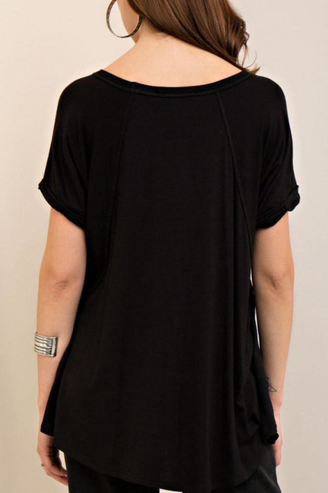 Entro Loop Cut V-Neck Tee - Front Full Image