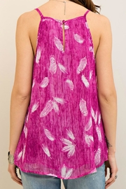 Entro Magenta Feather Top - Front full body
