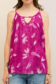 Entro Magenta Feather Top - Front cropped